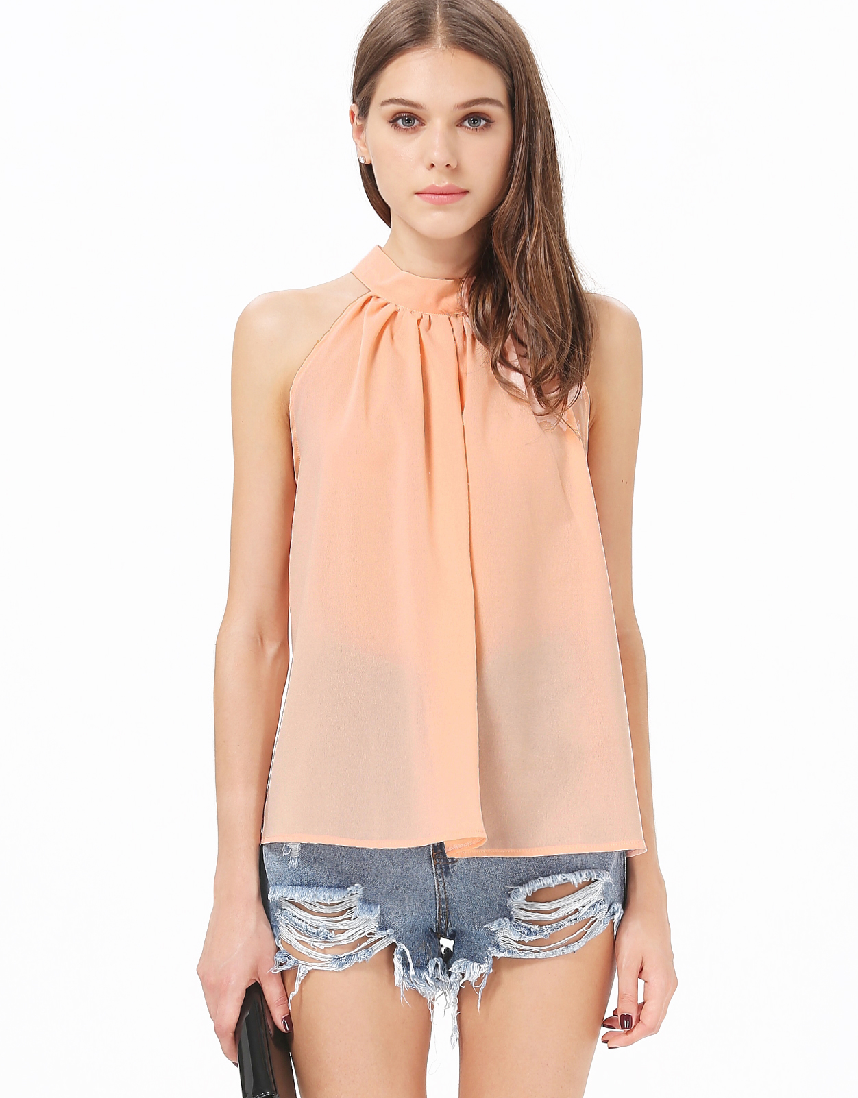 Pink Stand Collar Off the Shoulder Chiffon Vest - Sheinside.com