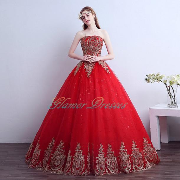 dress, wedding dress, red wedding dresses, ball gown wedding dresses ...