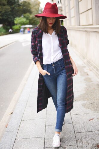 shoes checkered coat red hat white shirt jeans white sneakers blogger