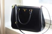 bag,prada,prada bag,black bag,black,elegant,office outfits,black and gold,black bag with gold details