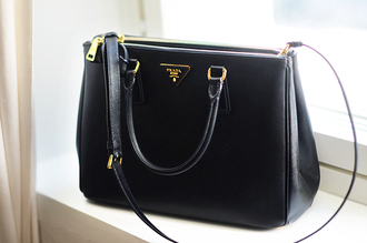 bag prada black bag black classy business gold black black bag with gold details