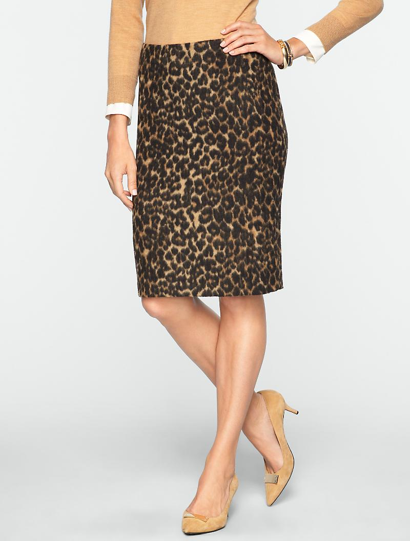 Talbots - Brushed Animal-Jacquard Pencil Skirt