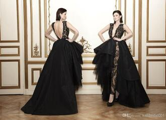 ball gown celebrity red carpet dresses lace applique sheer deep v neck sexy black taffeta formal evening gowns