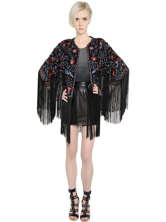 jacket embroidered floral silk black