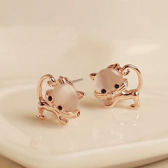 jewels earrings cat earrings cats cute gold