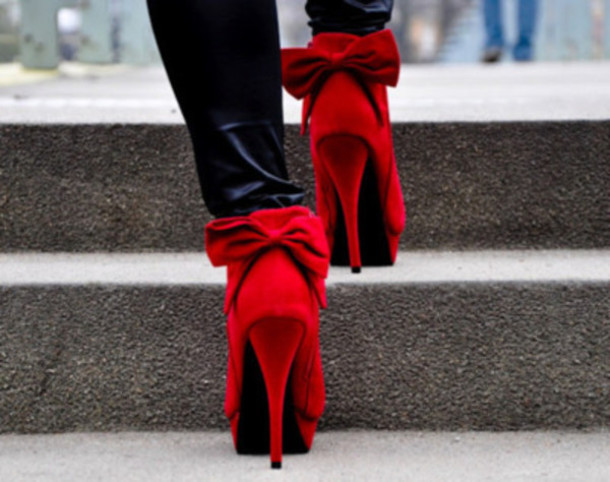 Red Heels With Bow On Back | Tsaa Heel