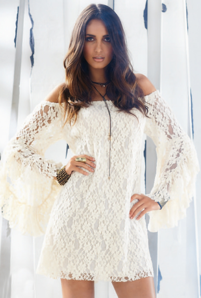 Embroidered Sexy Women White Lace Long Bell Sleeve Off Shoulder Shirt Mini Dress | eBay