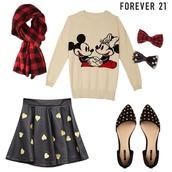skirt,gray white,sweater,forever 21