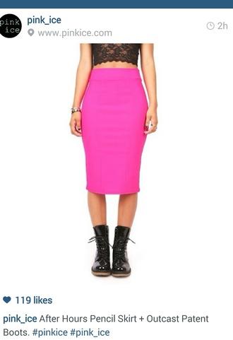 skirt pencil skirt pink pencil skirt patent leather boots combat boots lace crop top crop tops