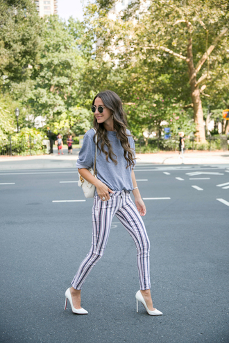 top tumblr sweatshirt grey sweater pants stripes striped pants pumps pointed toe pumps high heel pumps white shoes shoes bag