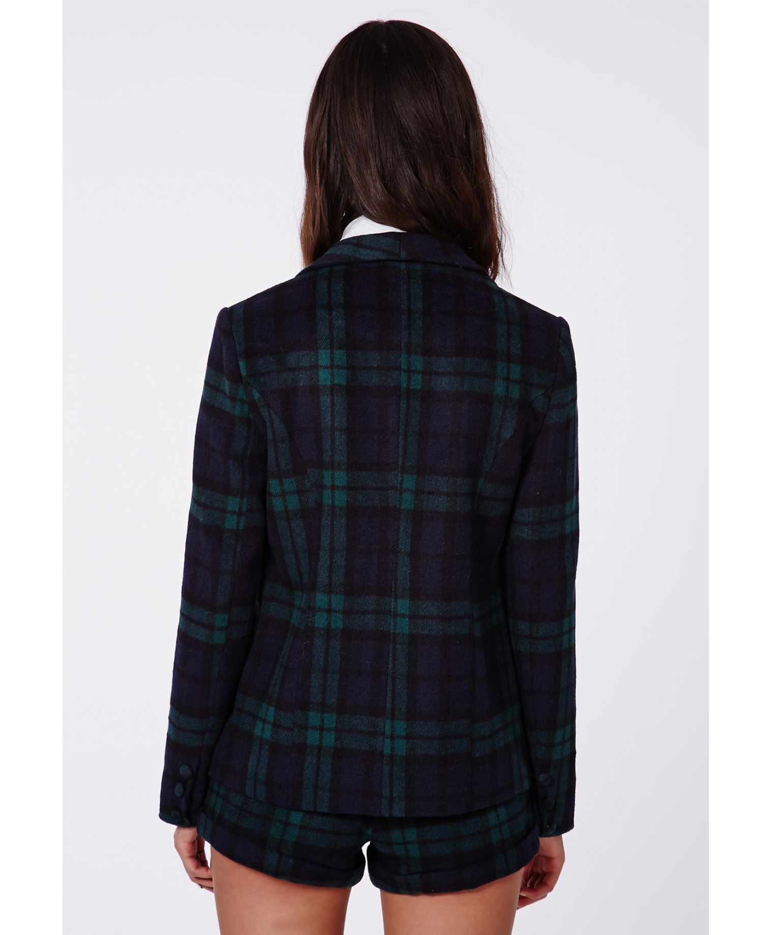 Missguided - Jill Tartan Tailored Blazer Green