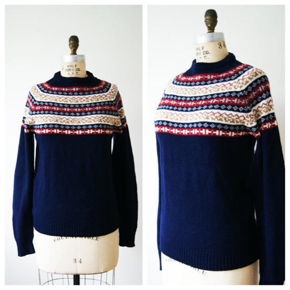 Nordic Sweater. Fair Isle Pullover. 70s by NewOldFashionVintage