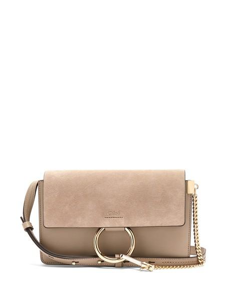 Chloe cross bag leather suede light grey
