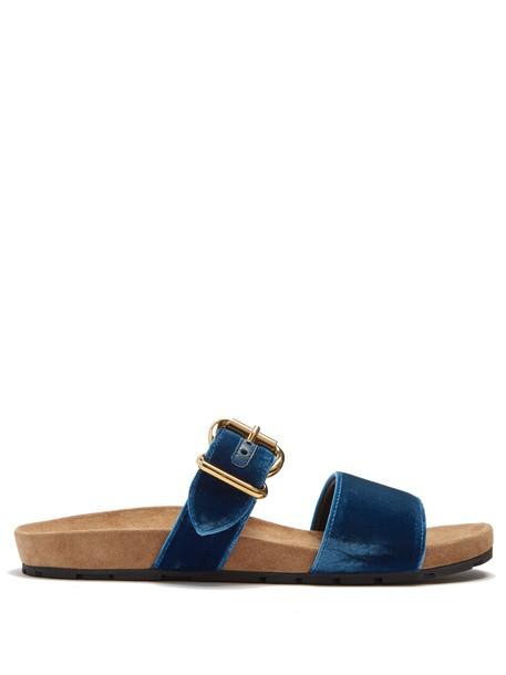 Prada suede velvet blue shoes