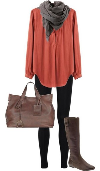 shoes bag blouse brown scarf