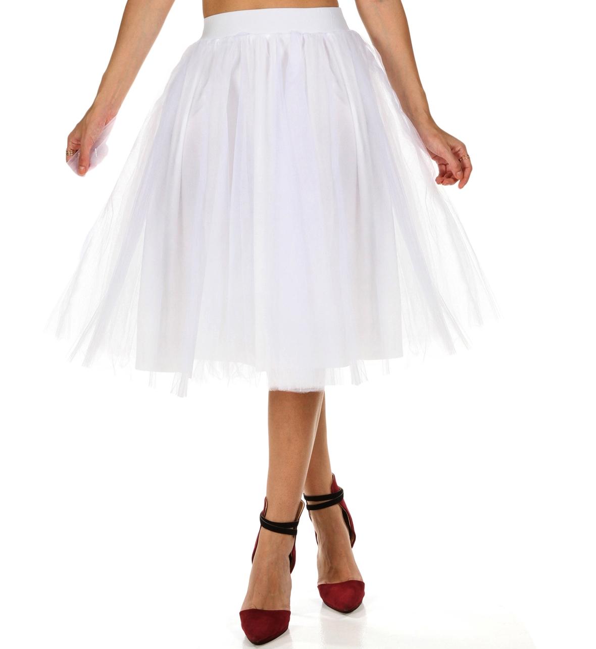 white tulle midi skirt