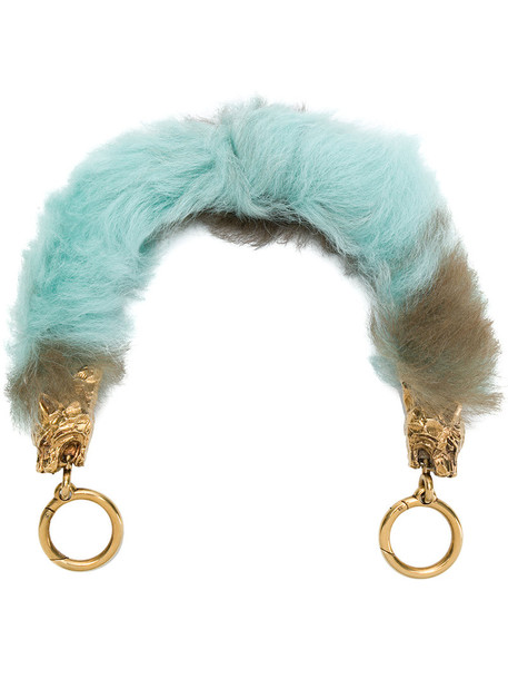 metal fur women bag blue camel