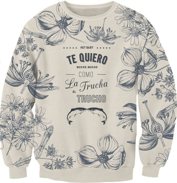 sweater white sweater cute sweater flowers comfy vintage love quotes romantic