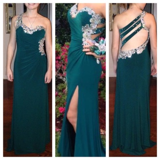 dress teal prom dress long dress