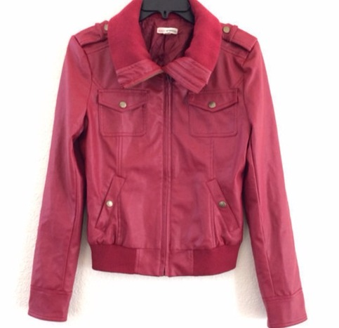 Clearance! zip up knitted collar leather jacket