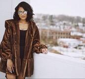 coat,fur coat,faux fur coat,brown fur coat