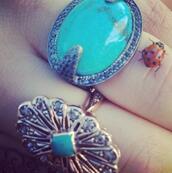 jewels,ring,blue,silver,big,big rings,hand jewelry,aqua