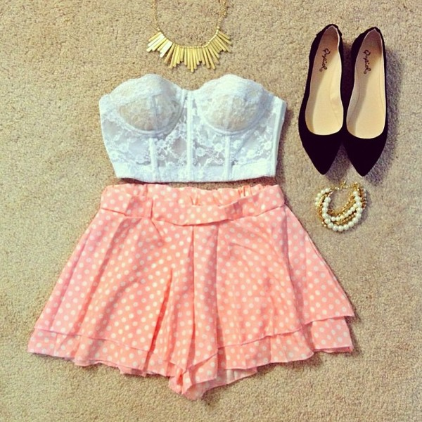 shorts pink polka dots chiffon bottom tumblr jewels shoes blouse tank top top wishies^^luv this top