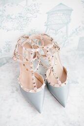 shoes,heels,high heels,studded shoes,studs,pantone 2016,pantone color,ootd,tumblr ootd,beautiful,pretty,pastel blue,blue wedding accessory,light blue,Valentino,blue heels,blue shoes