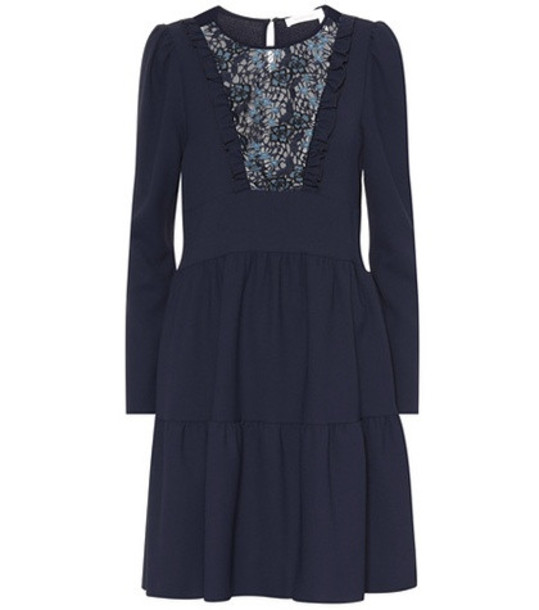 See By Chloé Floral lace bib dress in blue