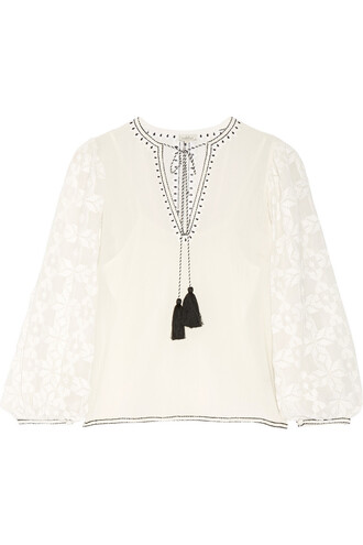 blouse embroidered cotton white off-white top