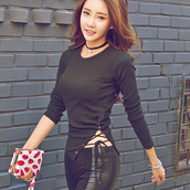 top,sexy,sexy top,korean fashion,korean style,korean drama,tie up top,pull strings top,black,curvy fashion,asian fashion
