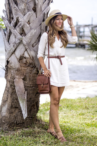 chicstreetstyle blogger dress jewels shoes brown bag shoulder bag summer dress white dress sandals