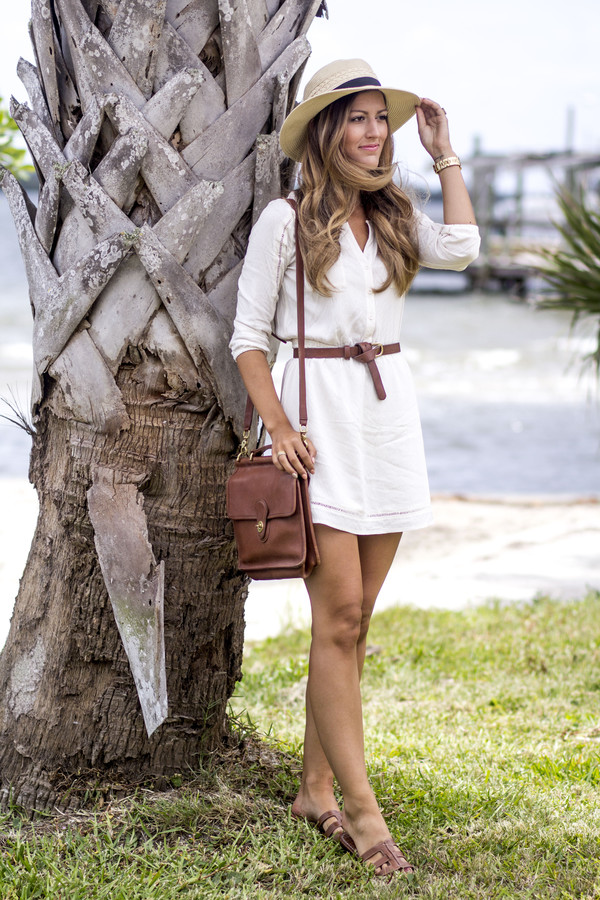 chicstreetstyle blogger dress jewels shoes brown bag shoulder bag summer dress white dress sandals