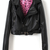 Black Long Sleeve PU Leather Belted Biker Jacket - Sheinside.com