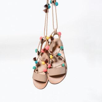 shoes pom poms sandals flats leather sandals