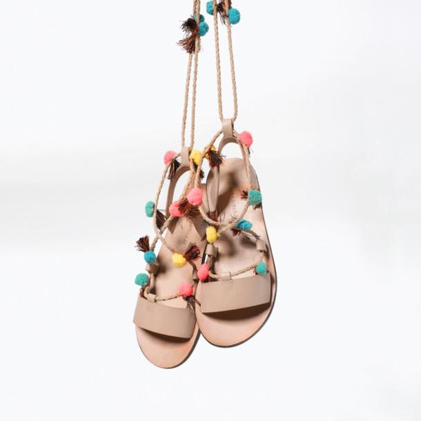 shoes, pom poms, sandals, flats