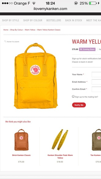bag kanken warm yellow fjallraven fjallraven kanken backpack back to school