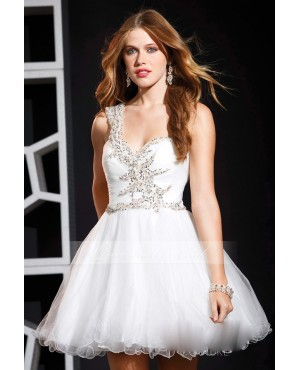 White Tulle A Line One Shoulder Beaded Short Prom Dress 2013 - Prom Dresses - Wedding Dresses