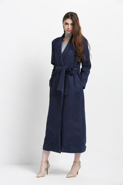 Coat: trench coat, winter coat, navy blue coat, women long coat ...