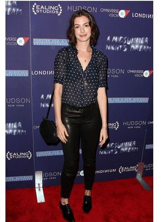 blouse anne hathaway pants leather pants