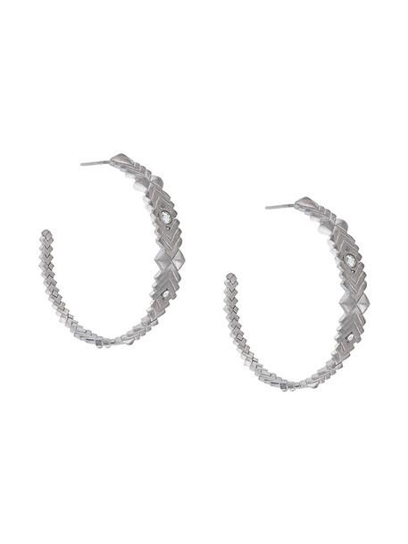 Charlotte Valkeniers women earrings hoop earrings silver grey metallic jewels