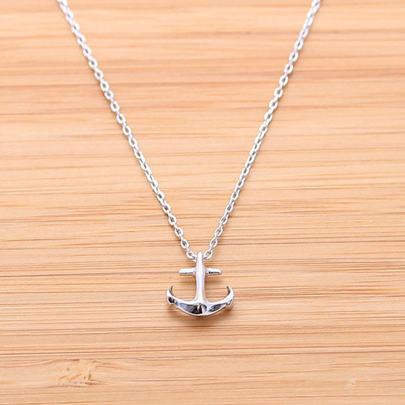 gift jewels silver jewelry anchor necklace present anchor necklace