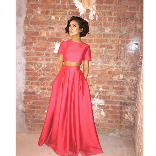 dress jhene aiko two-piece coral crop-top maxi skirt same color