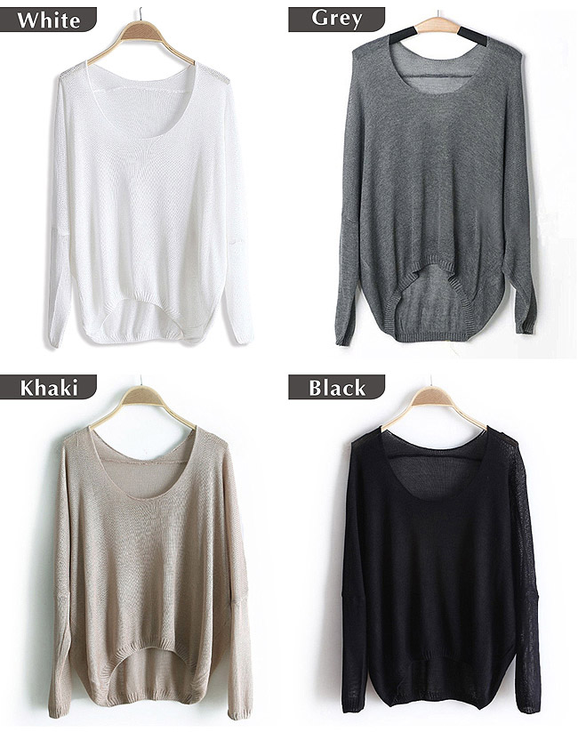 Fashion Casual Batwing Round Neck Knitted Jumper Loose Pullover ...