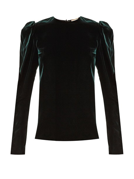 Saint Laurent top velvet top velvet dark green