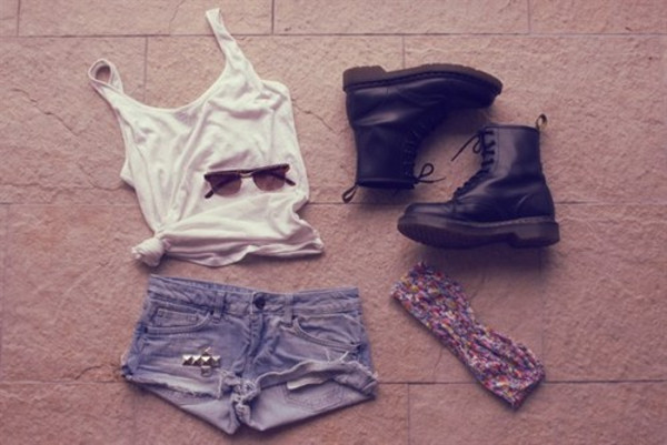 underwear summer cute shorts bandeau sunglasses DrMartens tank top