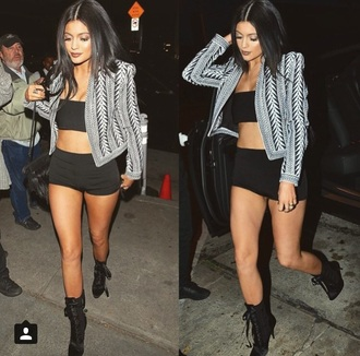 romper kylie jenner need this whole outfit! high heels black heels jacket crop tops shoes