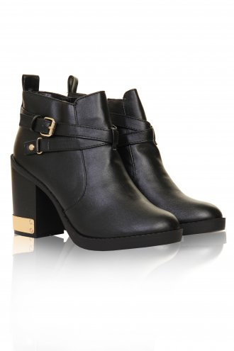 Black & Gold Detail Leather Look False Strap Heeled Ankle Boots  -  from Lavish Alice UK