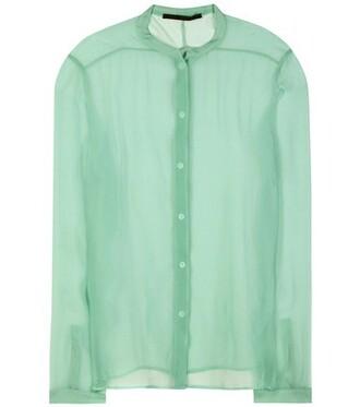 shirt sheer silk green top