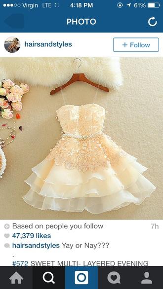 dress cream beige cute dress cute girly princess princess dress lace